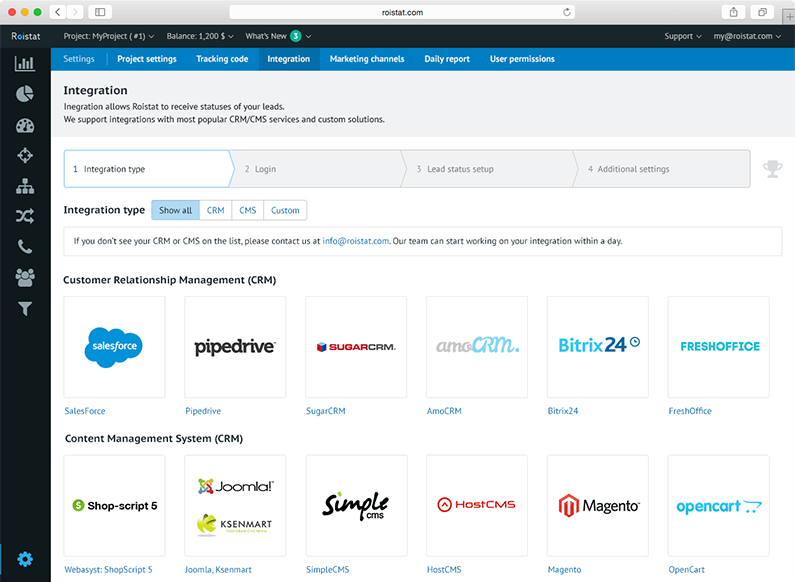 Integration with CRM/CMS - Ready-for-use integrations and API for personal solutions