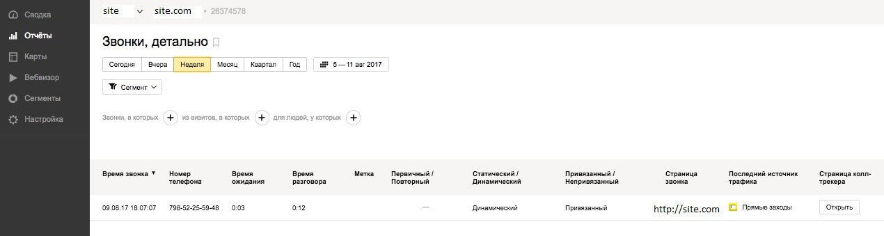 Call info in Yandex.Metrika