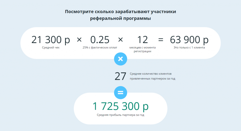 Пример расчета для партнера Roistat