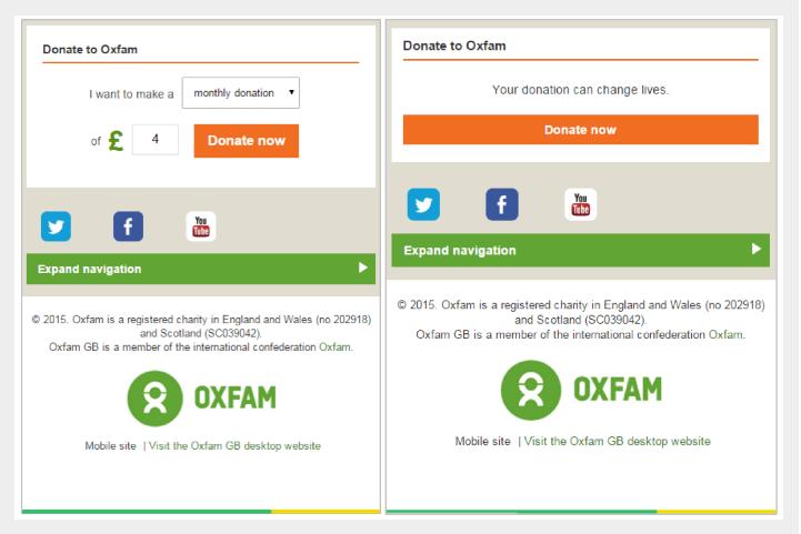 А/Б тестирование двух версий страницы сайта Oxfam