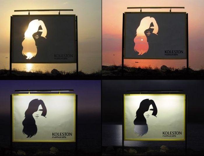 Интересная реклама краски для волос, пейзаж становится частью рекламного щита
