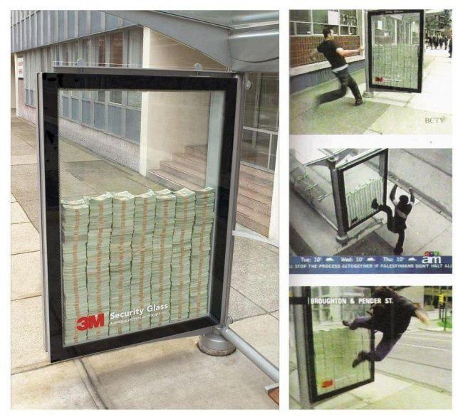 Отличная наружная реклама пуленепробиваемого стекла