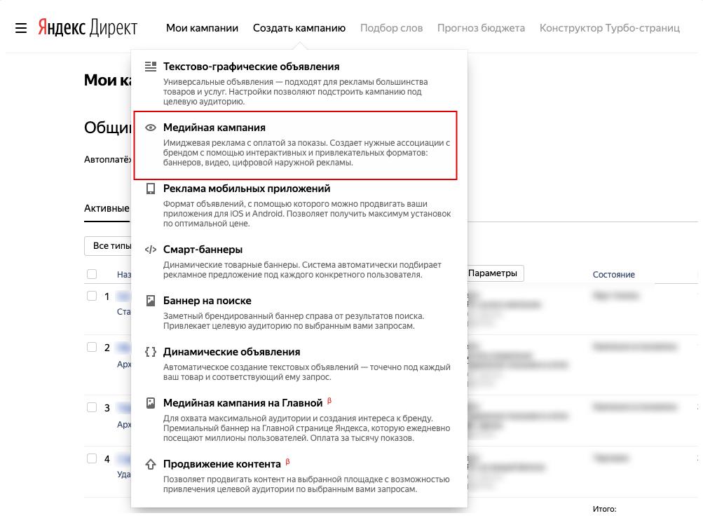 Медийные кампании Яндекс.Директа