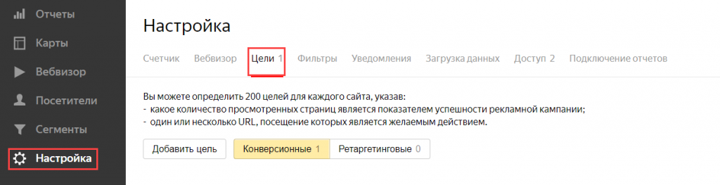 Настройка цели в Яндекс Метрике