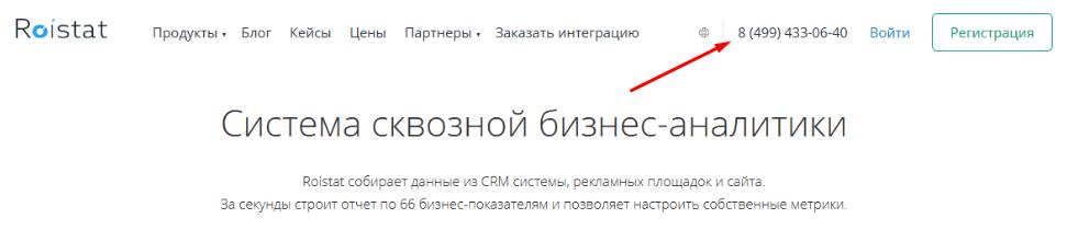 Пример размещения номера на сайте.