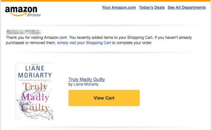 Amazon отправляет письмо с содержанием корзины и предлагает завершить заказ