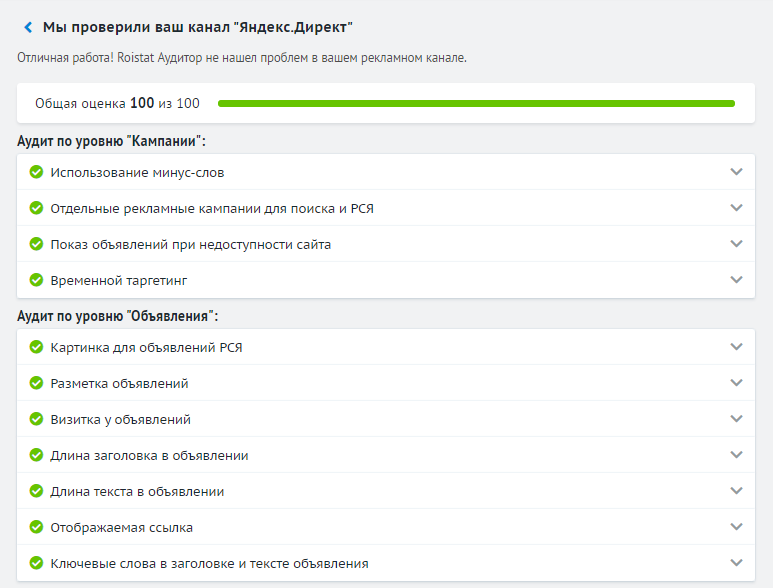 Аудитор рекламных кампаний: как выглядит отчёт, который собирает сервис после проверки канала Яндекс.Директ.