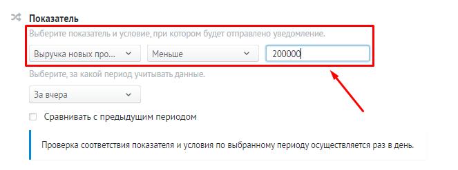 Сценарий отправки уведомлений в сервисе «Радар» от Roistat.