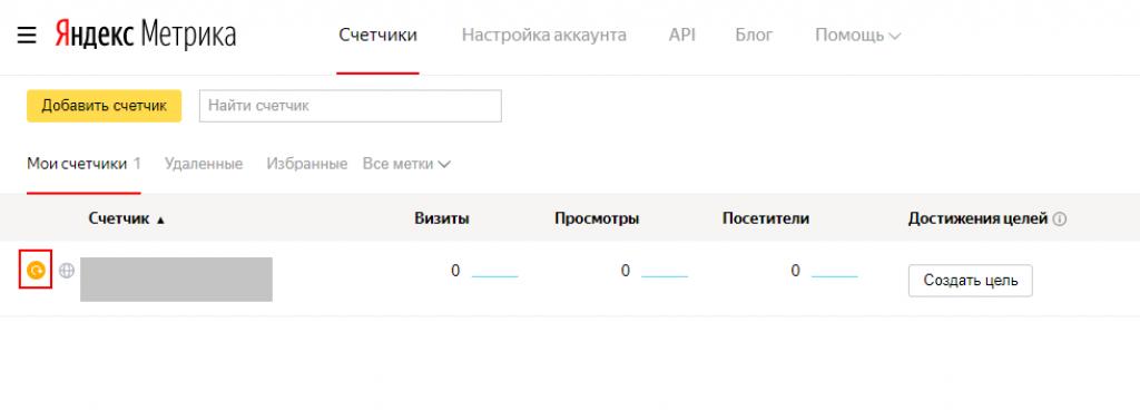 Пример списка счётчиков в Яндекс.Метрике
